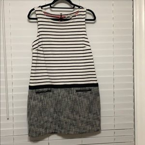 Loft dress black and white stripped. Petite
